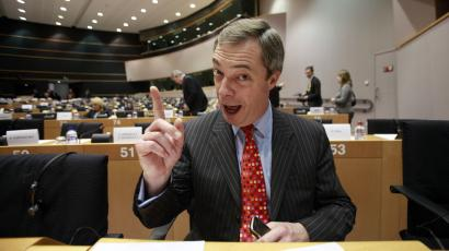 Leader of the UK Independence Party Nigel Farage gestures while speaking during a session at the European Parliament in Brussels.
