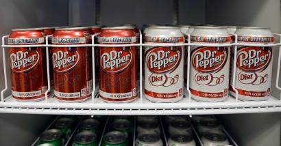 Dr. Pepper in a fridge