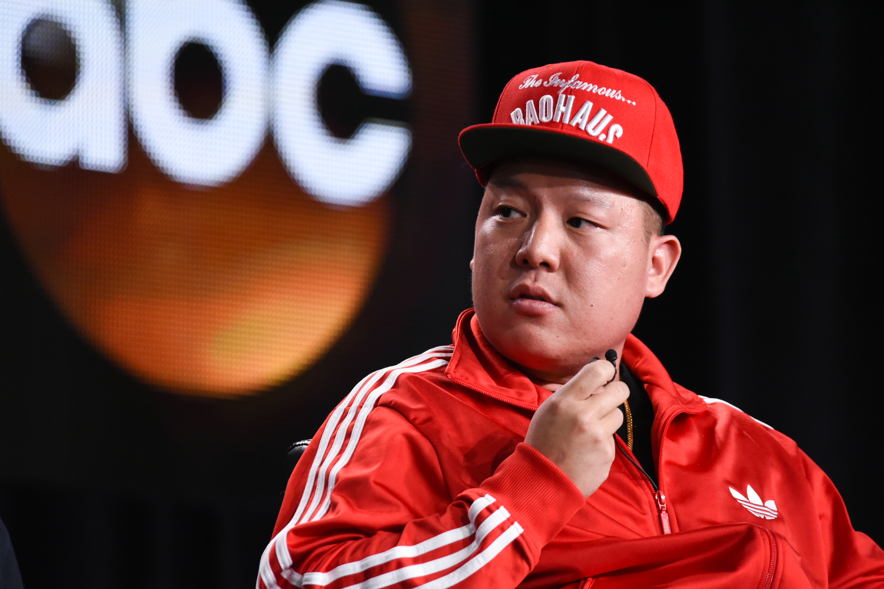 "Eddie Huang appears during the ""Fresh Off the Boat"" panel at the Disney/ABC Television Group 2015 Winter TCA on Wednesday, Jan. 14, 2015, in Pasadena, Calif. (Photo by Richard Shotwell/Invision/AP)"