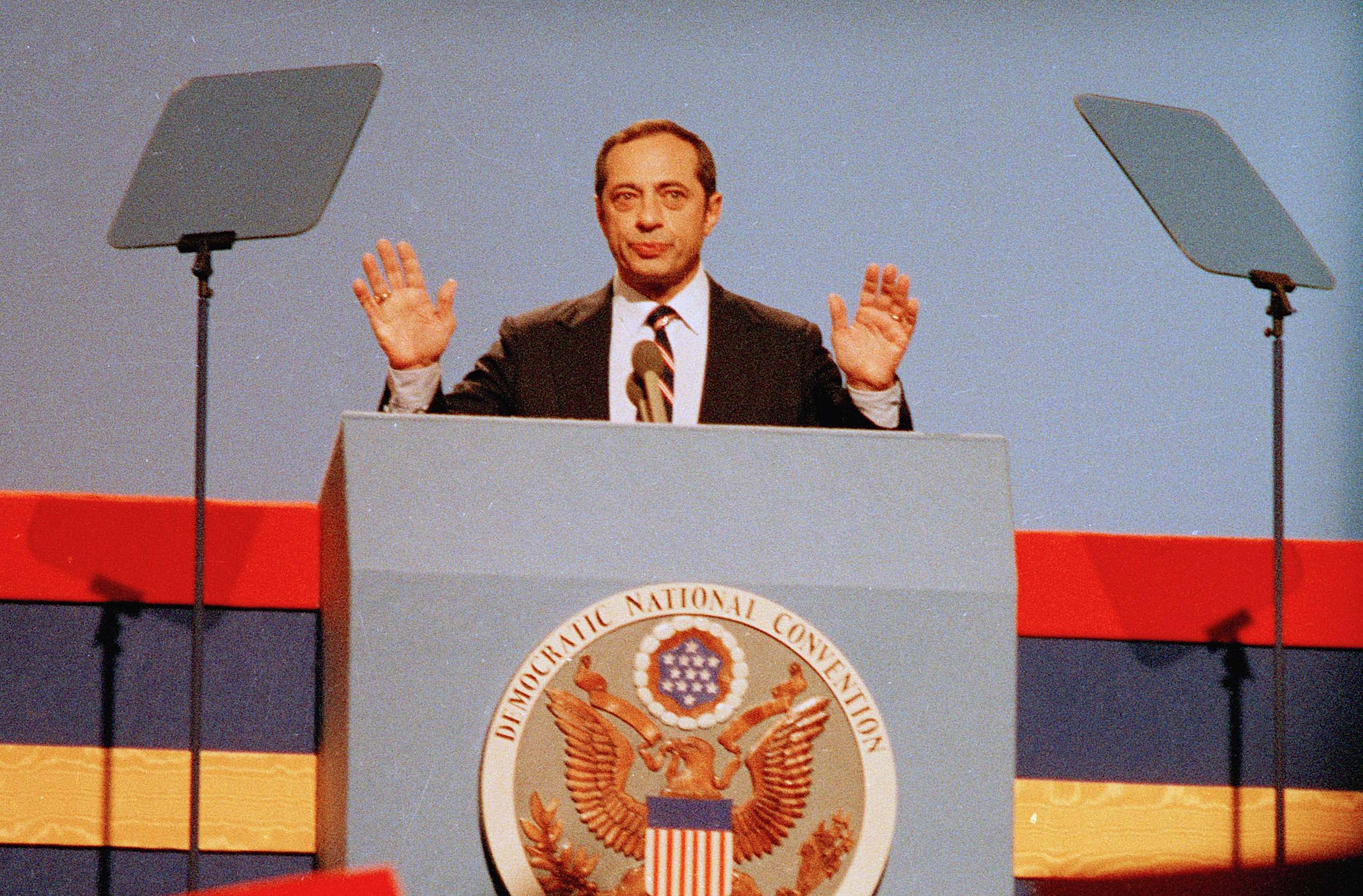 New York Gov. Mario Cuomo delivers his keynote address to the Democratic National Convention on July 16,  1984 in San Francisco's Moscon Center. (AP Photo)