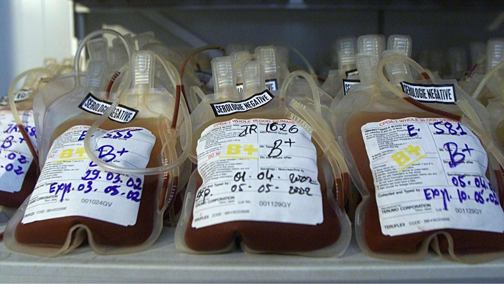 Bags of donated blood in cold storage at the National Blood Transfusion Center in the Cambodian capital Phnom Penh on 27 April,2002. Cambodia's blood supply does not meet the demands of the country's population. The blood shortage has led to a thriving blood-for-money business in the city. Many destitute youth sell their blood for cash in Phnom Penh.