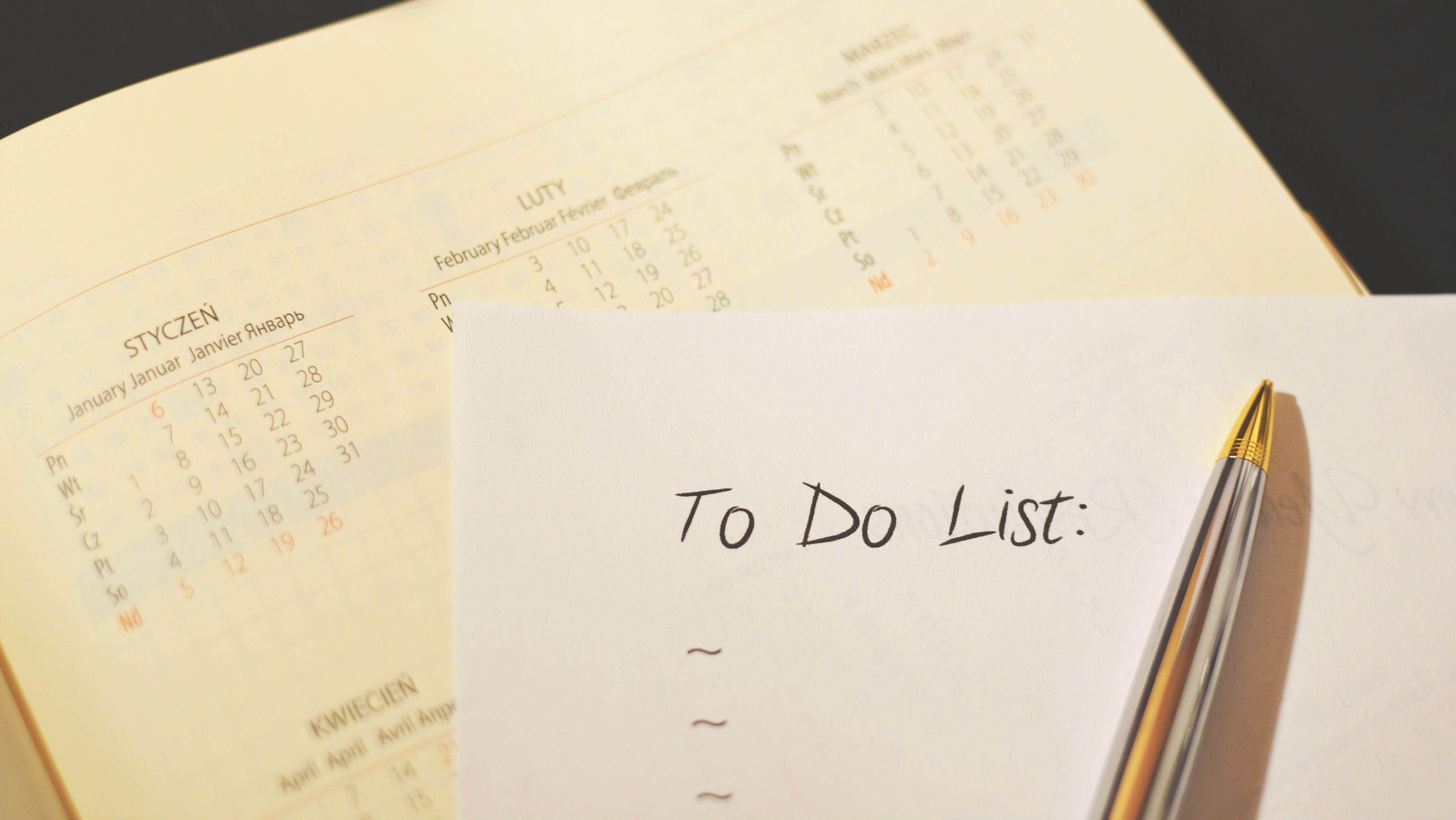 calendar and to-do list