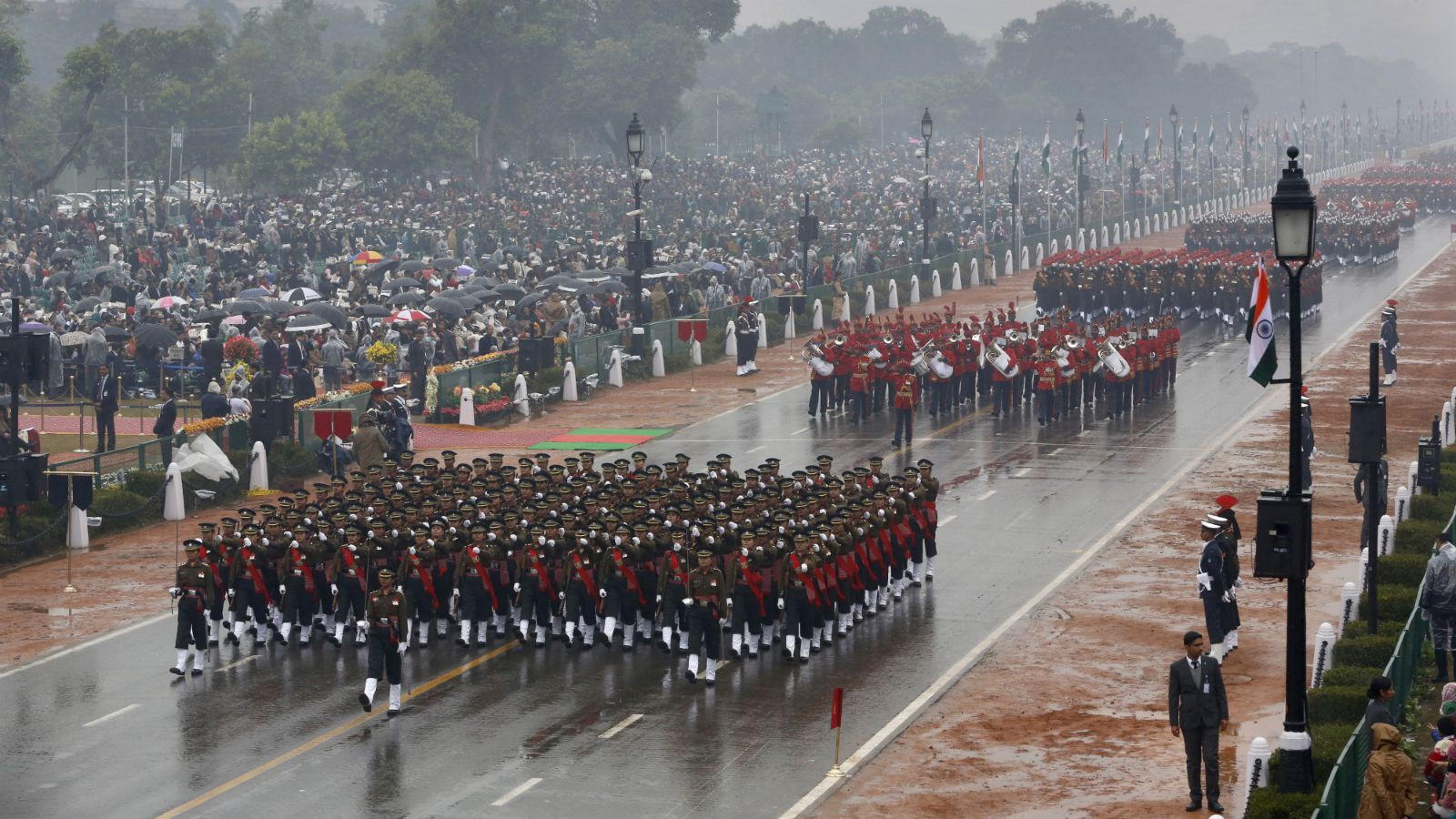 Indian Army women personnel march during the Republic Day parade in New Delhi, India, Monday, Jan. 26, 2015. Republic Day marks the anniversary of India's democratic constitution taking force in 1950. Beyond the show of military power, the parade includes ornate floats highlighting India's cultural diversity.