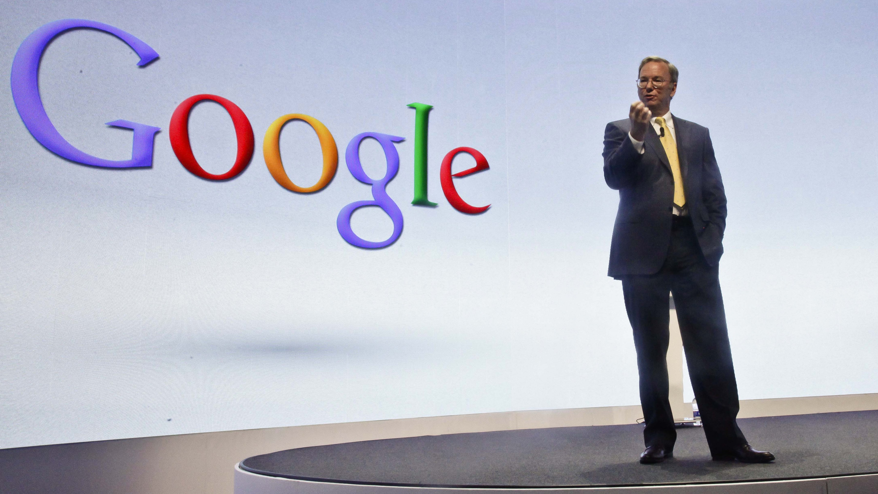 In this Wednesday, Sept. 5, 2012, file photo, Eric Schmidt, Google's chairman, speaks during a press conference in New York, where Motorola introduced three new smartphones, the first since it became a a part of Google. Google said Wednesday, Jan. 29, 2014, it is selling Motorola's smartphone business to Lenovo for $2.9 billion, a price that makes Google's biggest acquisition look like its most expensive mistake.(AP Photo/Bebeto Matthews, File)