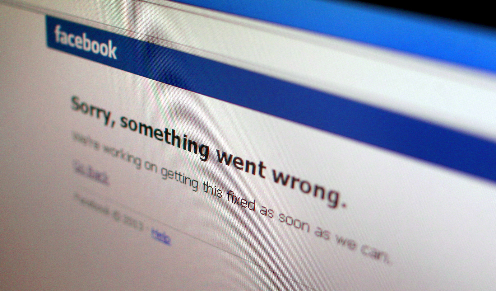 A Facebook error message is seen in this illustration photo of a computer screen in Singapore