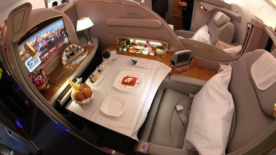 A first class cabin is seen on an Emirates A380 airplane, the world's largest passenger aircraft, at Manchester Airport after the plane's arrival on a flight from Dubai, Manchester, England, Wednesday September 1, 2010. When the CAA Aerodrome Standards Division gave their a approval, the airport joined a select group of only 17 global airports to be certified meaning Manchester becomes the first regional airport in the World to have a regular service by an A380. Manchester Airport has invested more than £10 million upgrading the airfield to the standards needed for the Emirates super-jumbo. This includes reconstructing a new aircraft stand with state of the art equipment including an advance docking system, which guides the pilot onto the stand and into the correct position for the unique double airbridge to connect. Construction has taken place over the last 18 months on the airfield at Manchester. (AP Photo/Jon Super).
