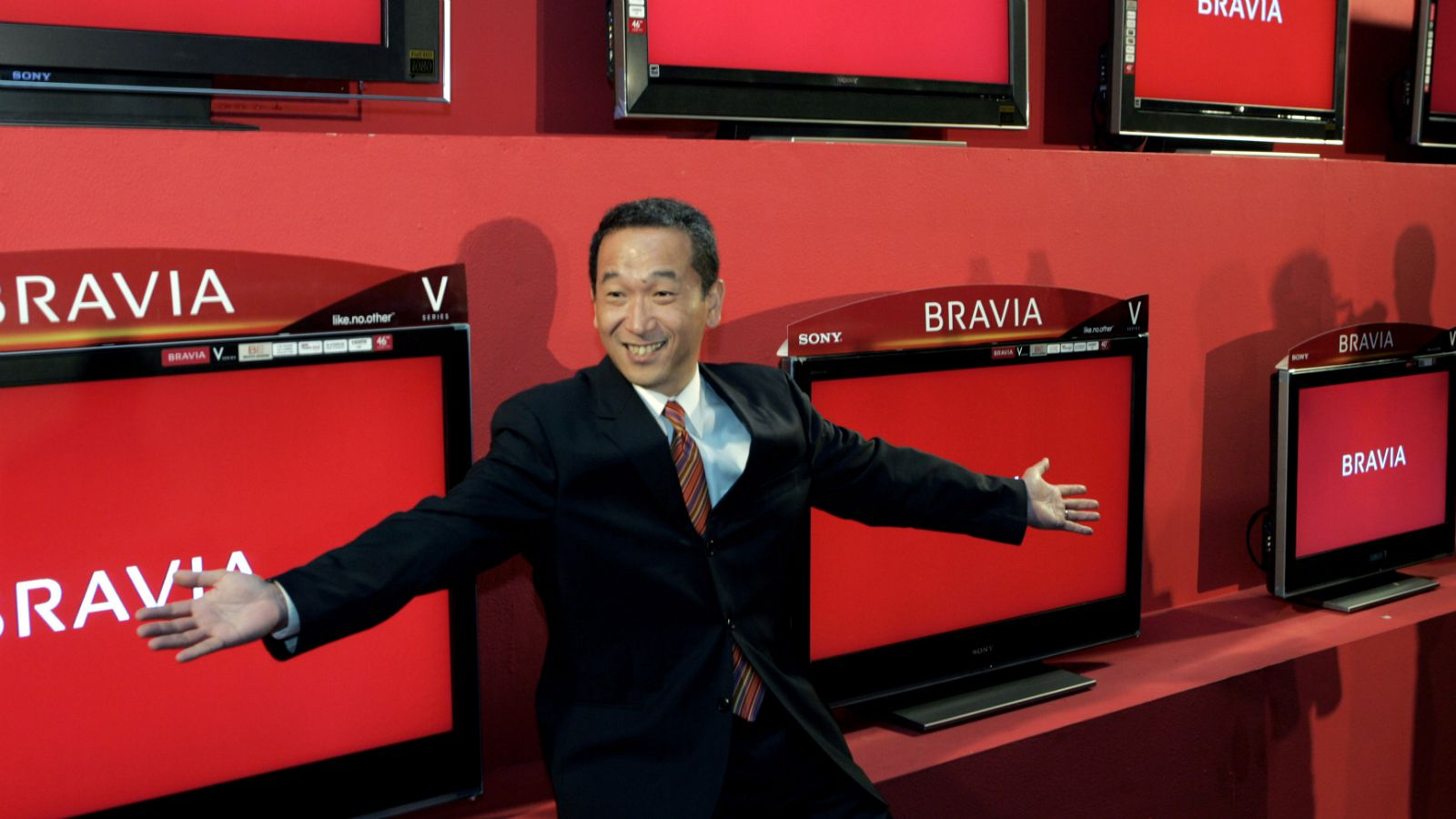 Sony India Managing Director, Masaru Tamagawa, poses in front of Sony's newly launched LCD ranges for Indian market, in New Delhi, India, Oct. 8, 2007. The new range is called BRAVIA, priced from US$ 717 to US$ 10253.