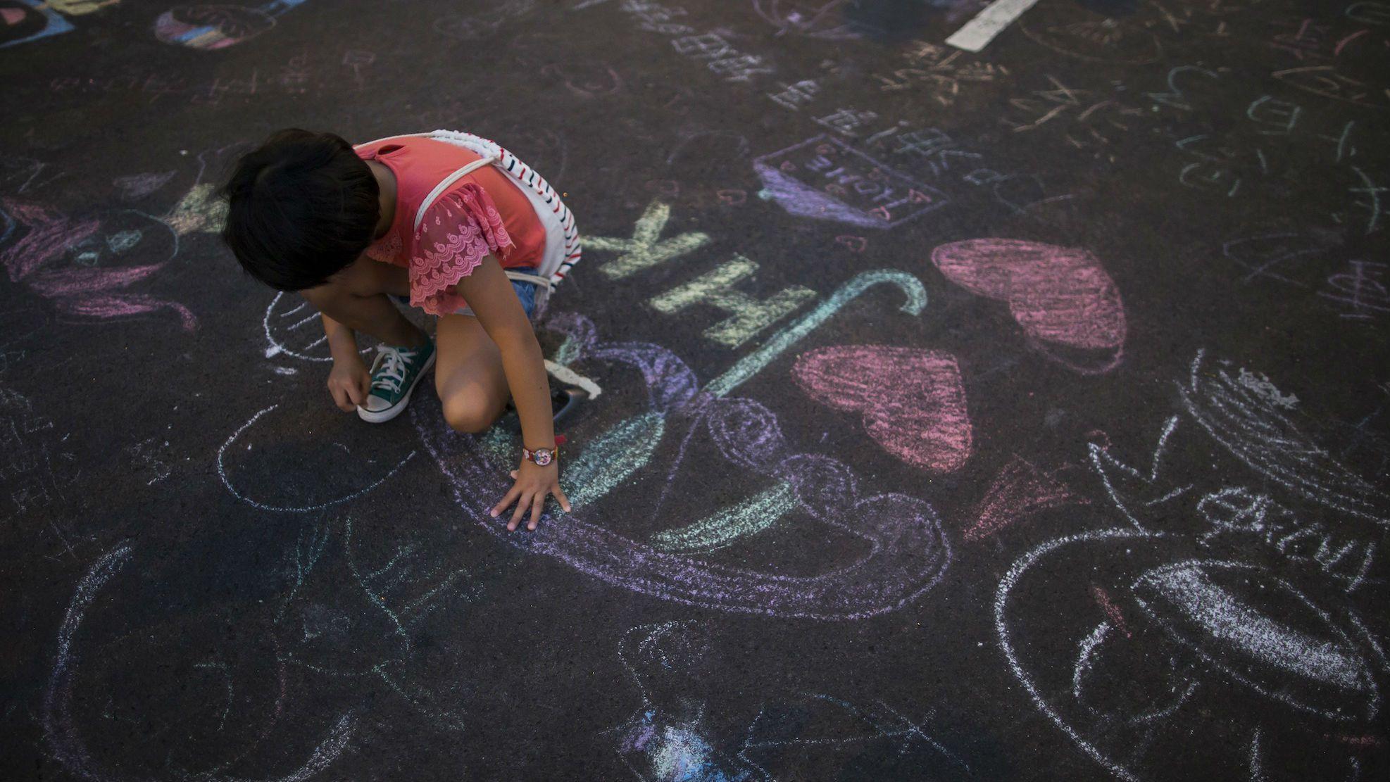 hong kong protest chalk web