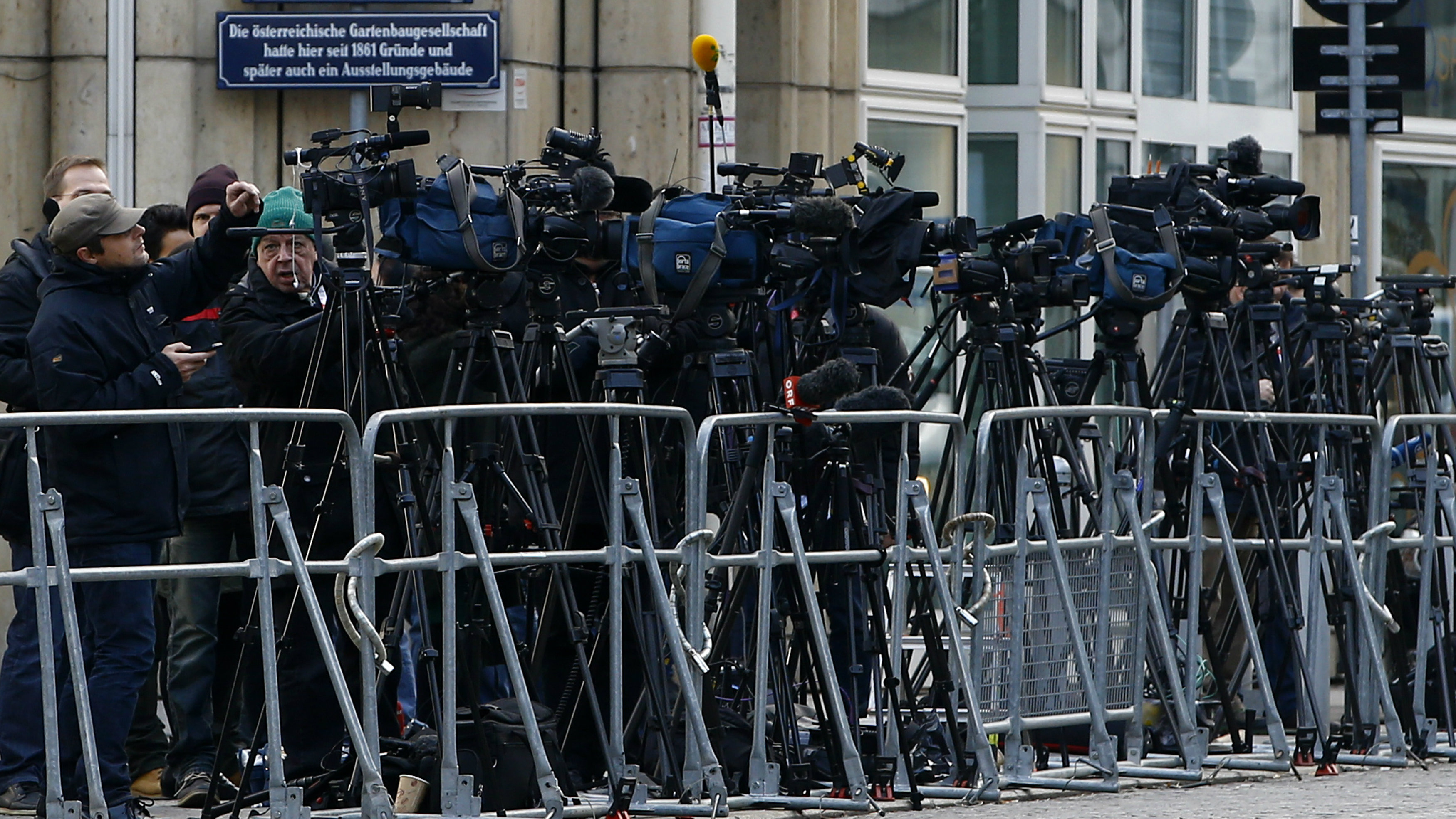 TV cameras are seen outside Palais Coburg before the start of nuclear talks between Tehran and six world powers in Vienna November 22, 2014.