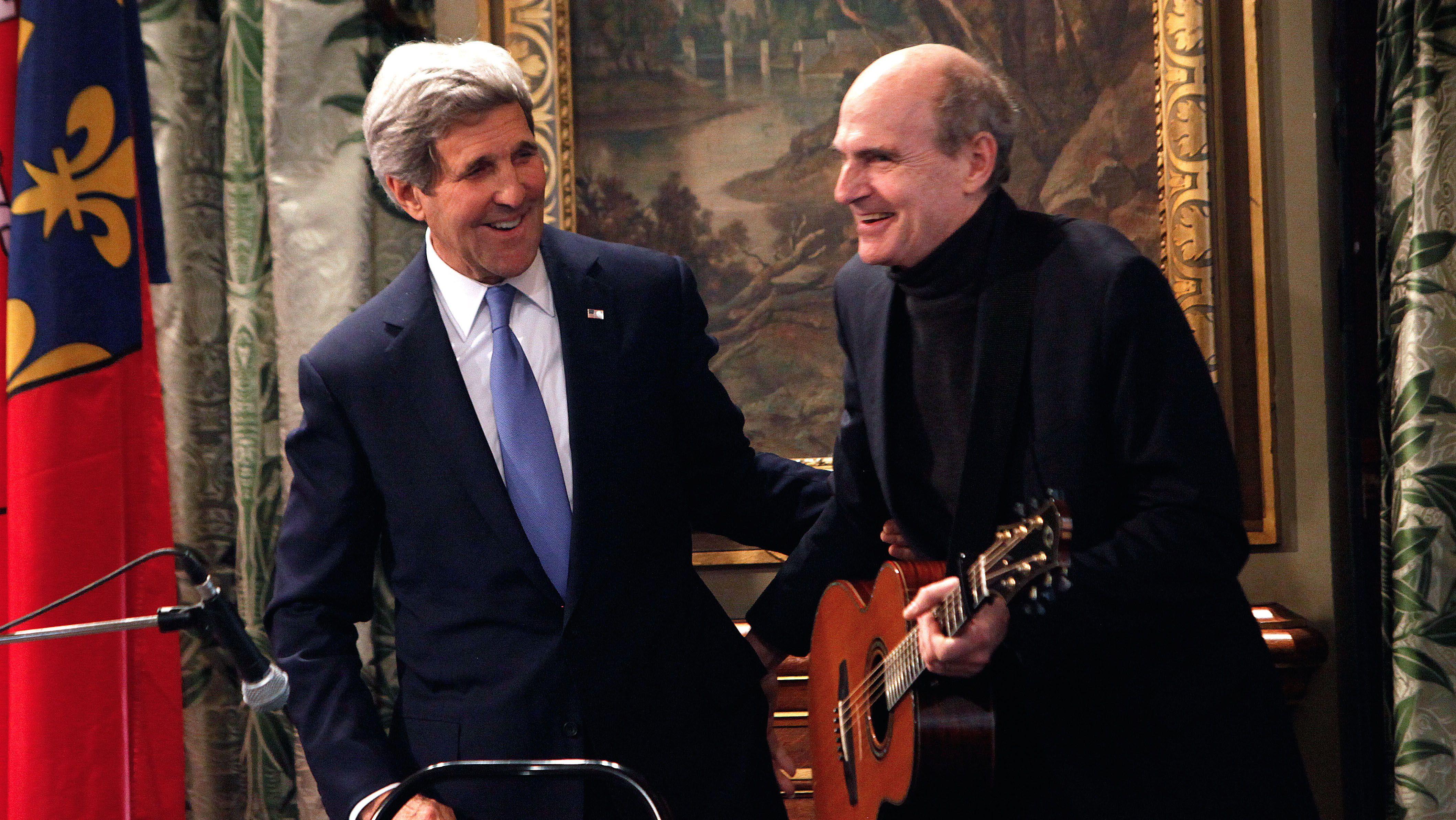 John Kerry and James Taylor in Paris