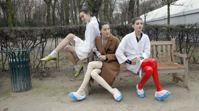 Models take a rest backstage after the Christian Dior's Spring-Summer 2015 Haute Couture fashion collection presented in Paris, France, Monday, Jan. 26, 2015.