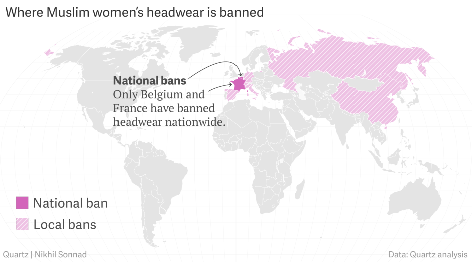 The places in the world that have a burqa ban — Quartz