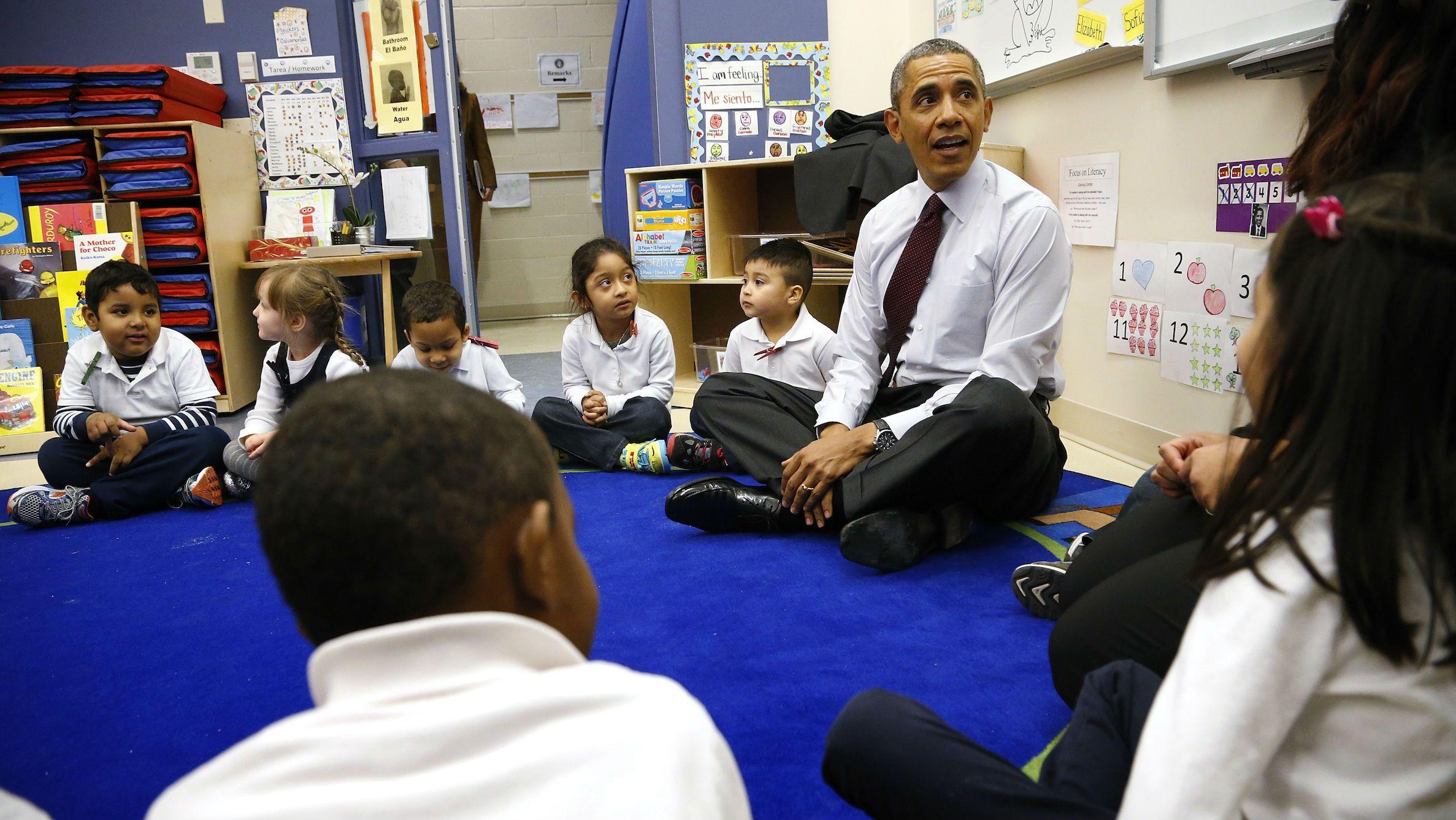 Obama discusses childcare during his SOTU address.