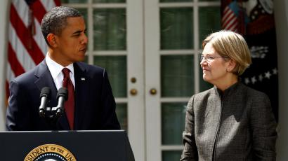 U.S. President Barack Obama announces consumer advocate Elizabeth Warren (R) as special adviser leading the creation of the Consumer Financial Protection Bureau in the Rose Garden of the White House in Washington September 17, 2010.