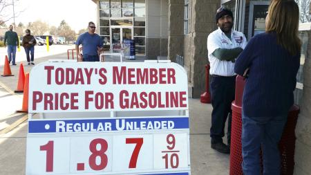 The price sign outside the Costco in Westminster, Colorado shows gas selling for below $1.90 for the first time in years December 20, 2014.