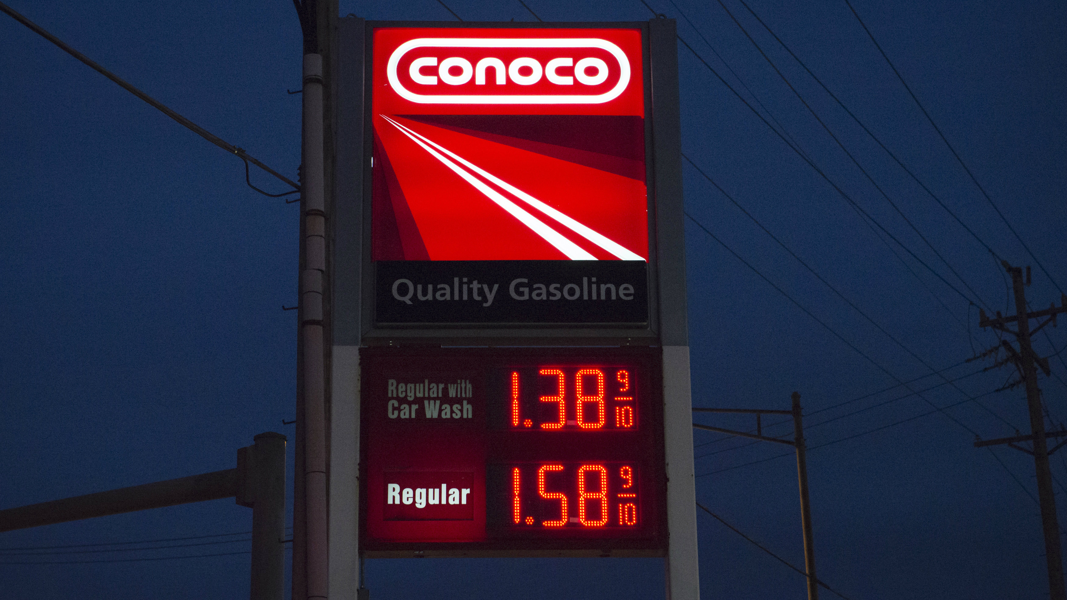 A Conoco gasoline station in St. Louis, Missouri January 14, 2015, as gas prices dropped across the country over the last three months.
