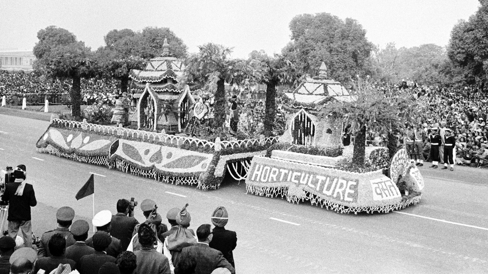 A flower decorated tableaux in the parade for Republic Day celebrations, in Delhi, India, on Jan. 26, 1969. (AP Photo)