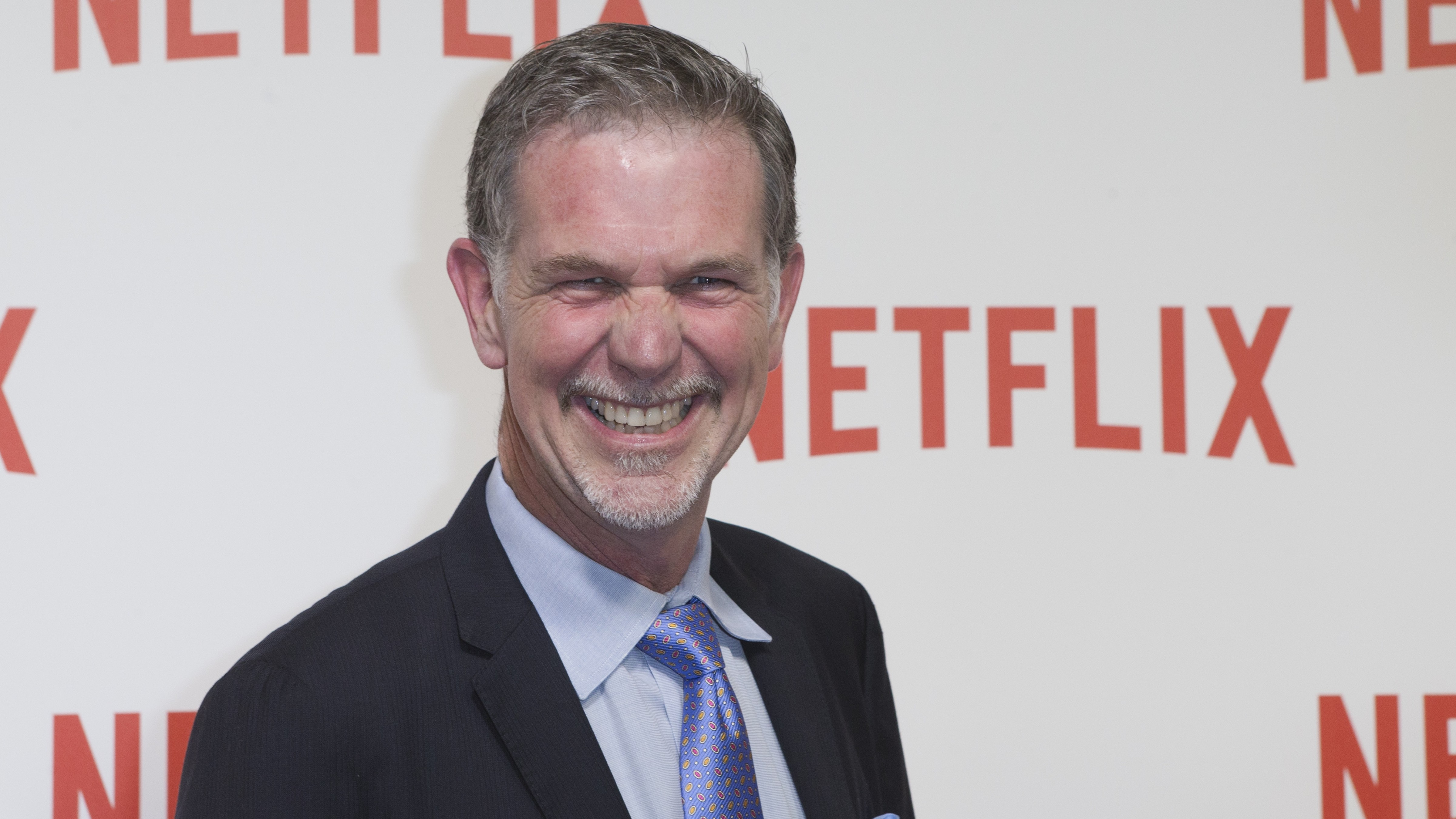 Netflix CEO Reed Hastings arrives for the 'Netflix' Launch Party in Paris, Monday Sept. 15, 2014. (AP Photo/Jacques Brinon)