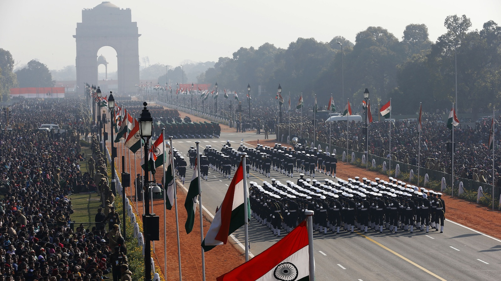 Indian soldiers march during the Republic Day parade in New Delhi January 26, 2013. India celebrated its 64th Republic Day on Saturday. REUTERS/Ahmad Masood