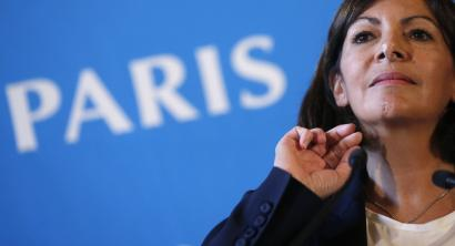 Mayor of Paris Anne Hidalgo speaks during a news conference at Paris city hall,.