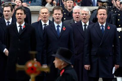 Britain's Chancellor of the Exchequer George Osborne, Labour Party leader Ed Miliband, former prime minister Tony Blair, Liberal Democrats Party leader Nick Clegg, Transport Minister Patrick McLoughlin, former prime minister John Major and Prime Minister David Cameron at Remebrance Day service.