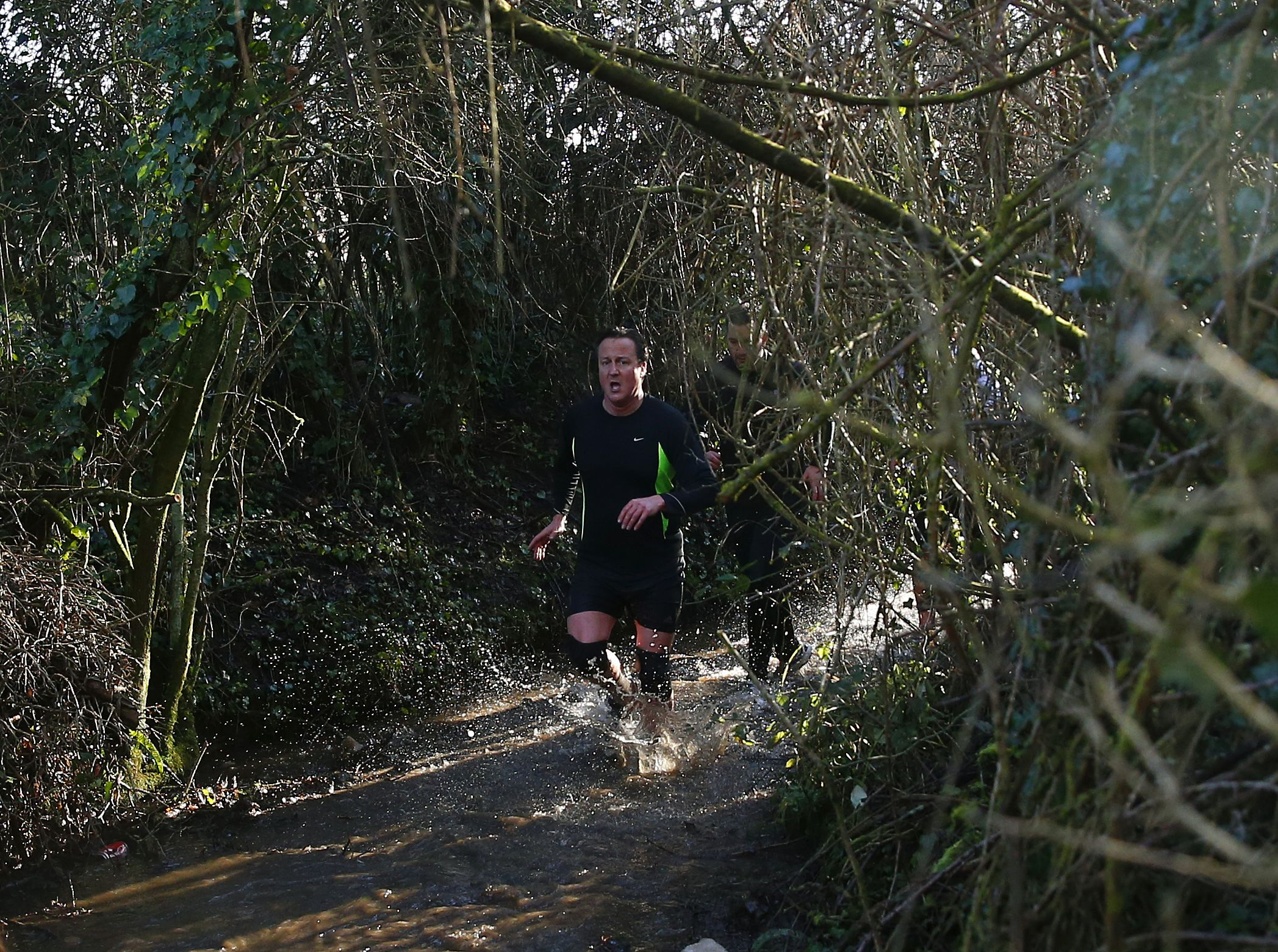 British Prime Minister David Cameron competes in the Great Brook Run.