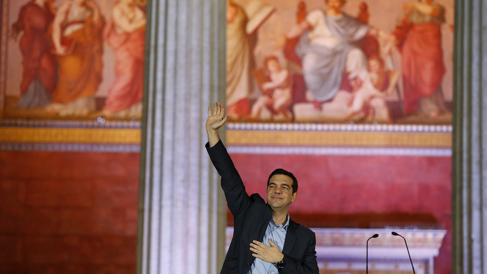The victory wave from radical leftist Syriza party leader Alexis Tsipras.