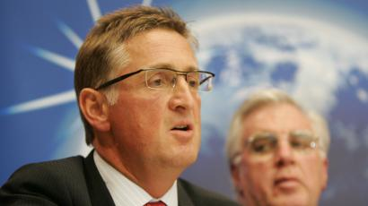 Union Network International general secretary Philip Jennings of Britain speaks during a news conference.