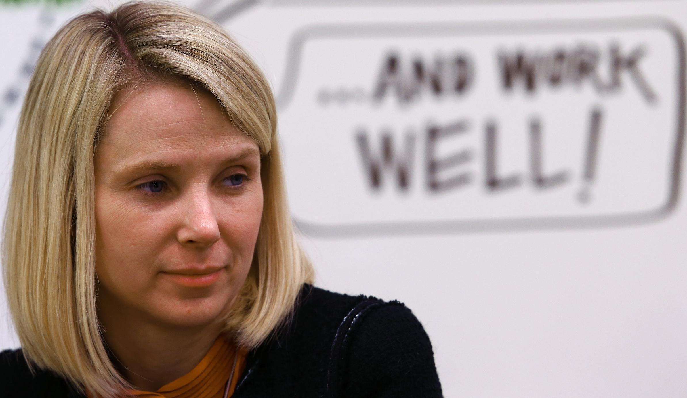 Marissa Mayer, Chief Executive Officer of Yahoo, Co-Chair of the World Economic Forum Annual Meeting 2014, attends a session at the annual meeting of the World Economic Forum (WEF) in Davos January 24, 2014. REUTERS/Denis Balibouse (SWITZERLAND - Tags: POLITICS BUSINESS) - RTX17SK0