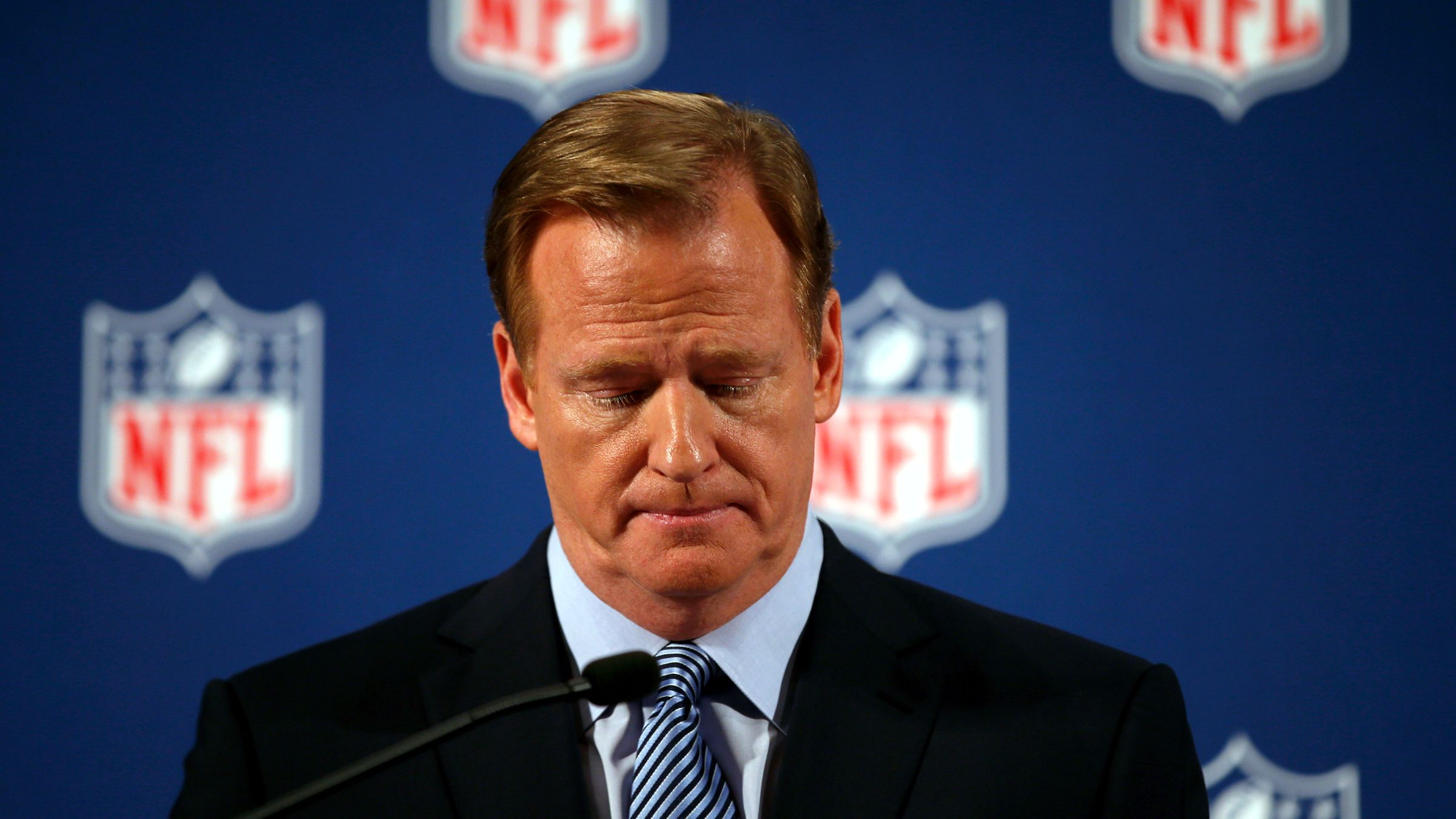 National Football League (NFL) Commissioner Roger Goodell speaks at a news conference to address domestic violence issues and the NFL's Personal Conduct Policy, in New York, September 19, 2014.