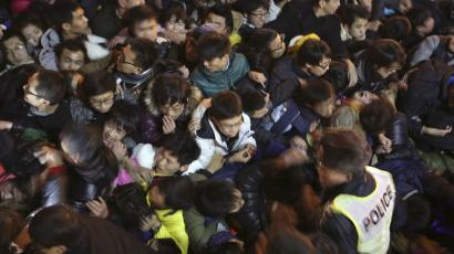 A view of a stampede is seen during the New Year's celebration on the Bund, a waterfront area in central Shangha
