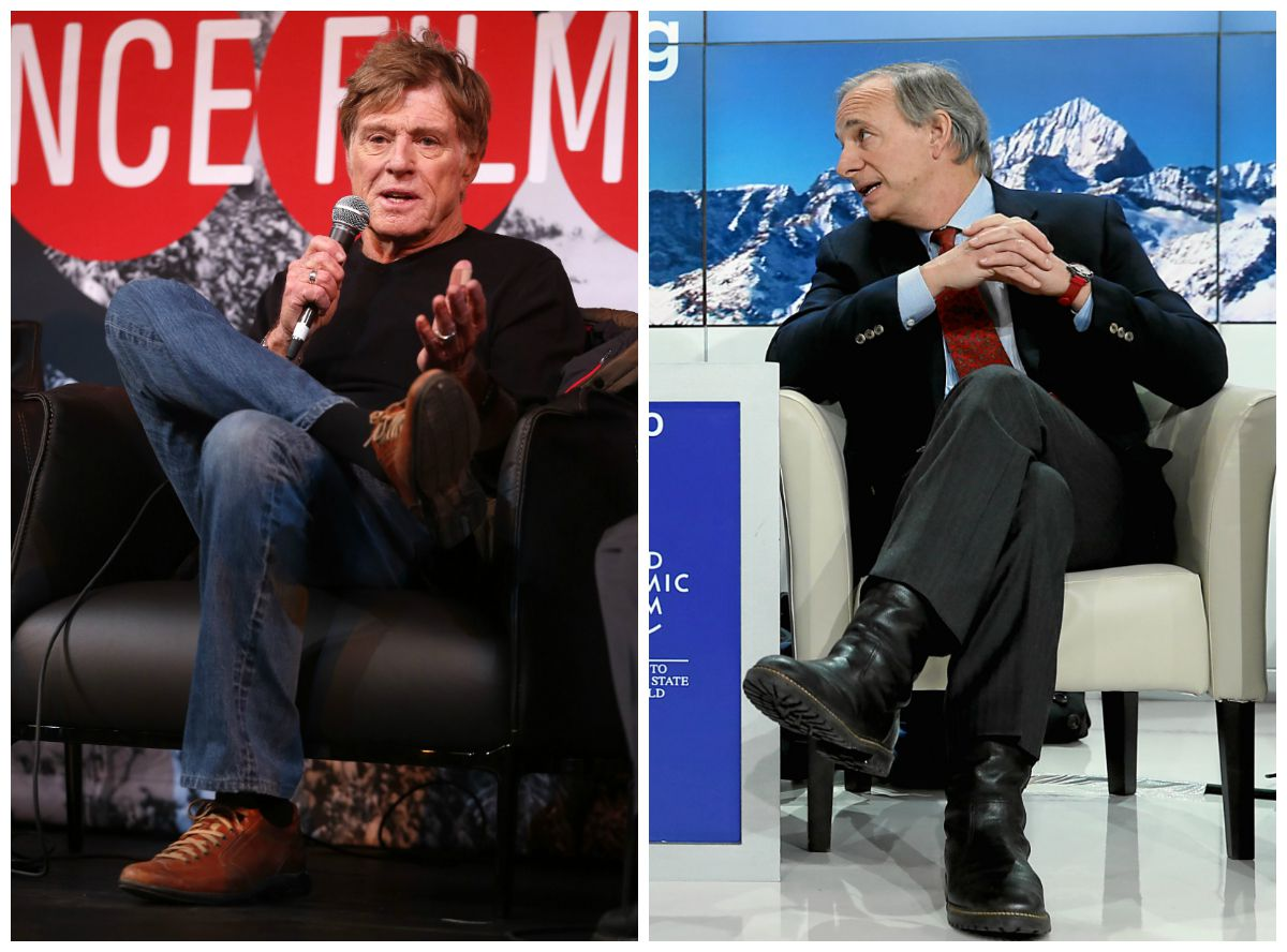 Tell me the part about alpine sweaters? Robert Redford at Sundance and Ray Dalio at the WEF.
