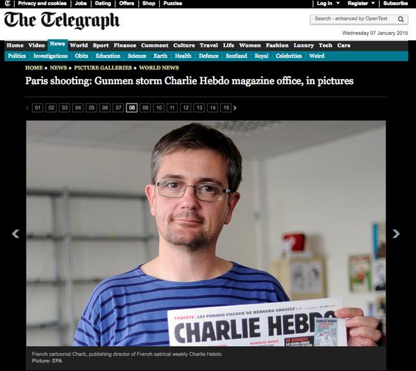 telegraph's coverage of charlie hebdo