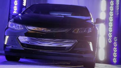 The 2016 Chevrolet Volt on display as a sneak peek Sunday, January 4, 2015 at the Consumer Electronics Show in Las Vegas, Nevada.