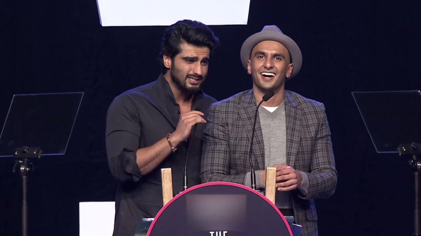 Bollywood actos Ranveer Singh (right) and Arjun Kapoor.