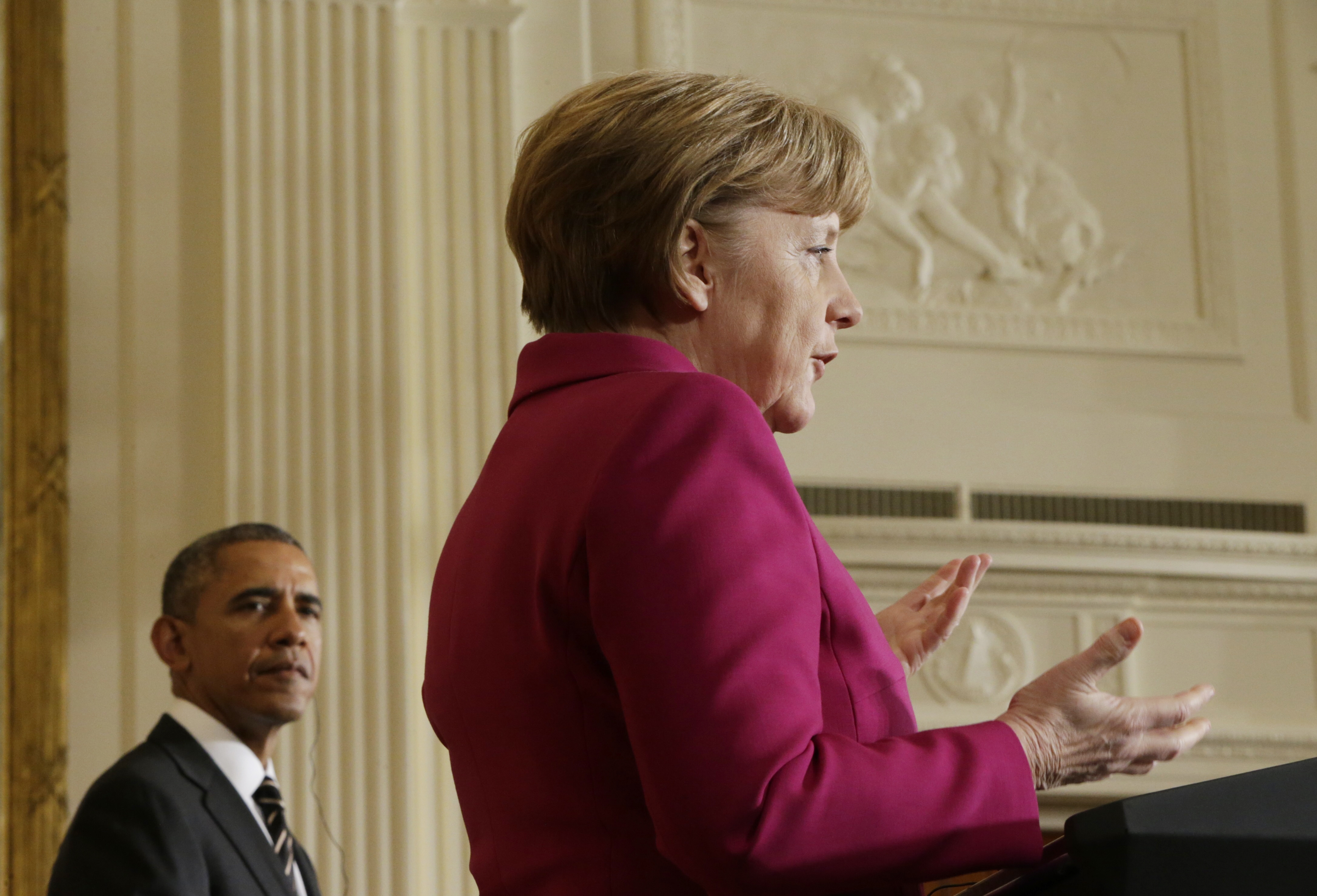 German Chancellor Angela Merkel speaks as she holds a joint news conference with U.S. President Barack Obama in the East Room of the White House in Washington February 9, 2015.   REUTERS/Gary Cameron (UNITED STATES  - Tags: POLITICS CIVIL UNREST)   - RTR4OWA0