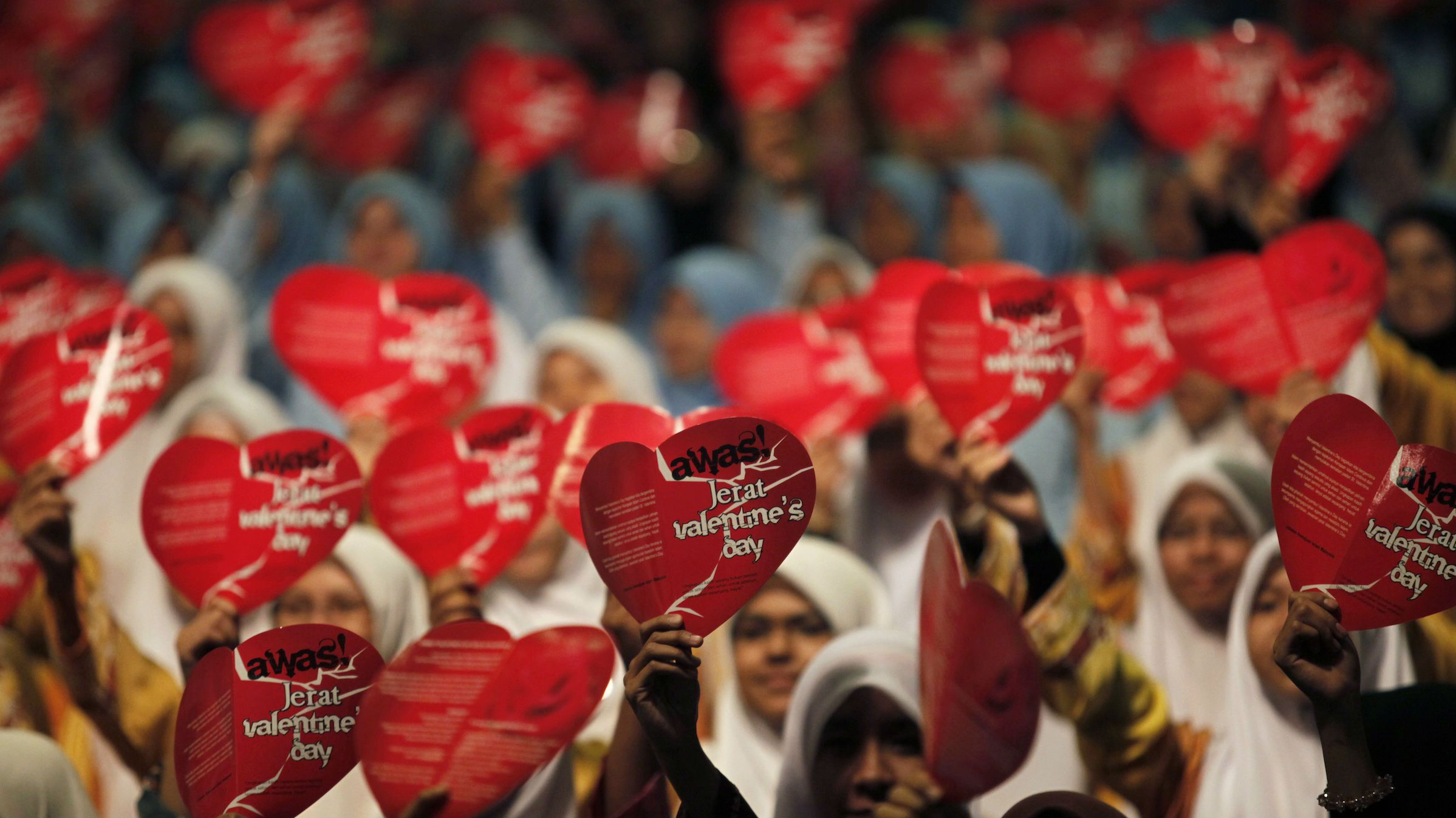 Muslim women at an anti-Valentine's Day Campaign outside Kuala Lumpur in 2011.