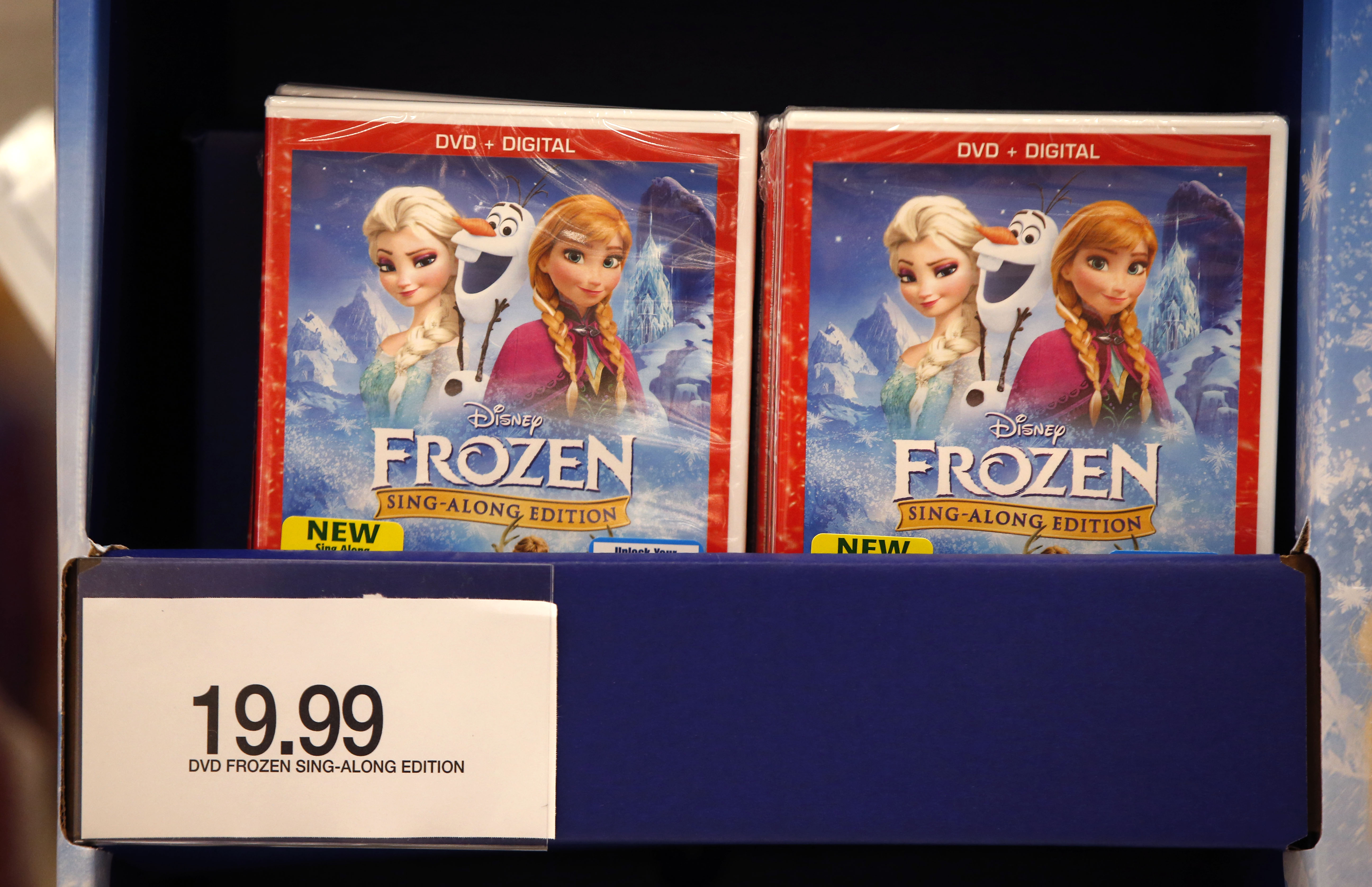 DVD's of Disney' s Frozen are for sale at a Target on Black Friday, Nov. 28, 2014, in South Portland, Maine. (AP Photo/Robert F. Bukaty)