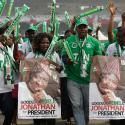Supporters of Nigeria's president Goodluck Jonathan, dance during an election campaign rally, at Tafawa Balewa Square in Lagos, Nigeria, Thursday, Jan. 8, 2015.