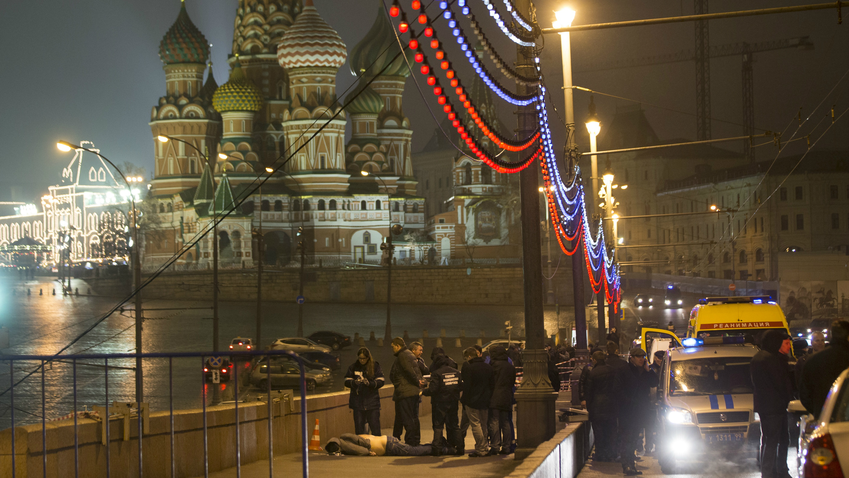 Boris Nemtsov's body in the shadow of St. Basil Cathidral.