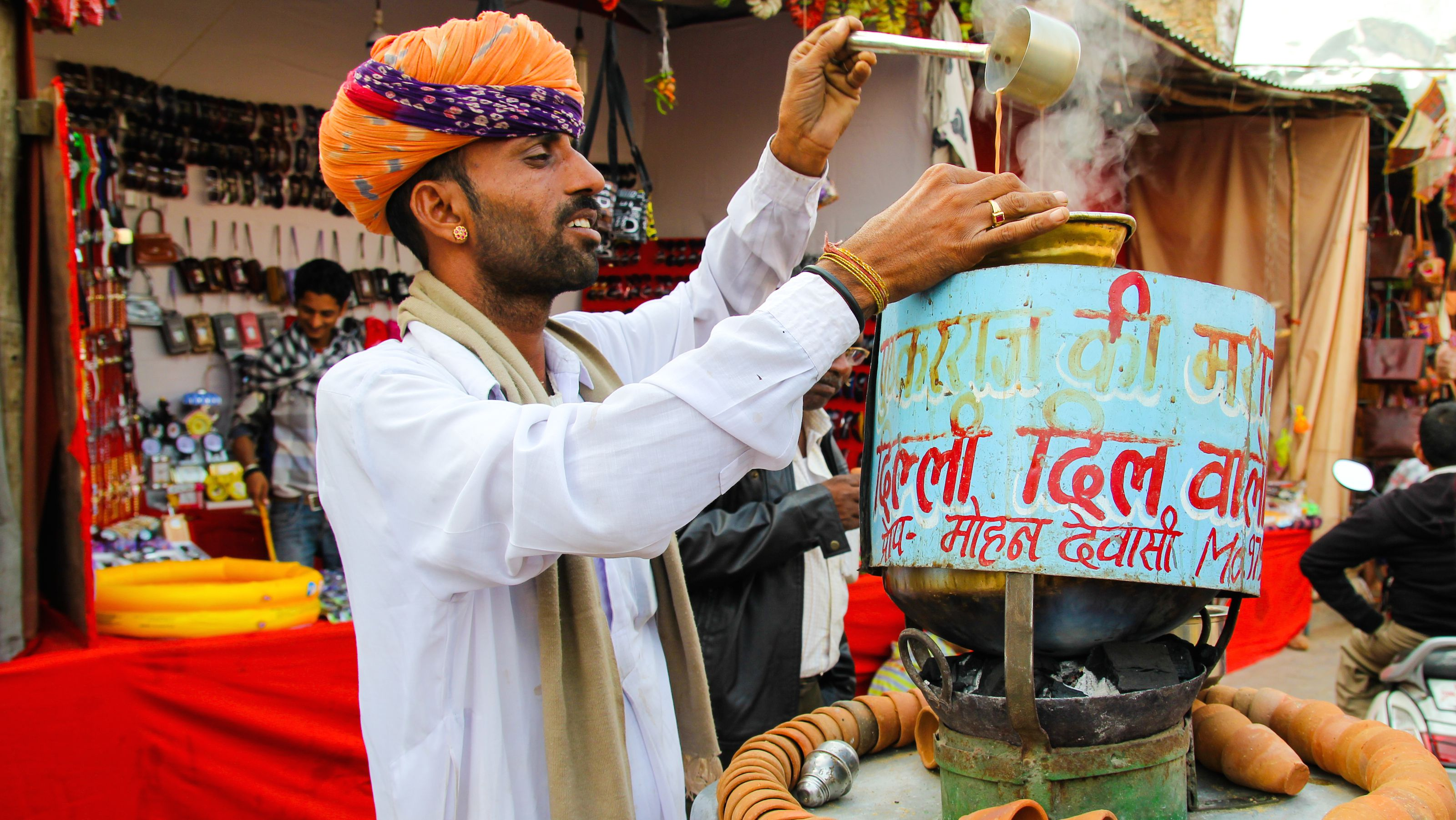 A chai wallah in Peshkar.