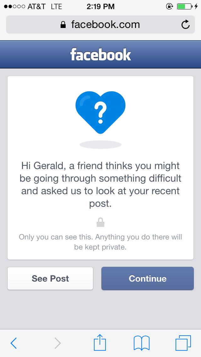 Facebook's suicide prevention tool