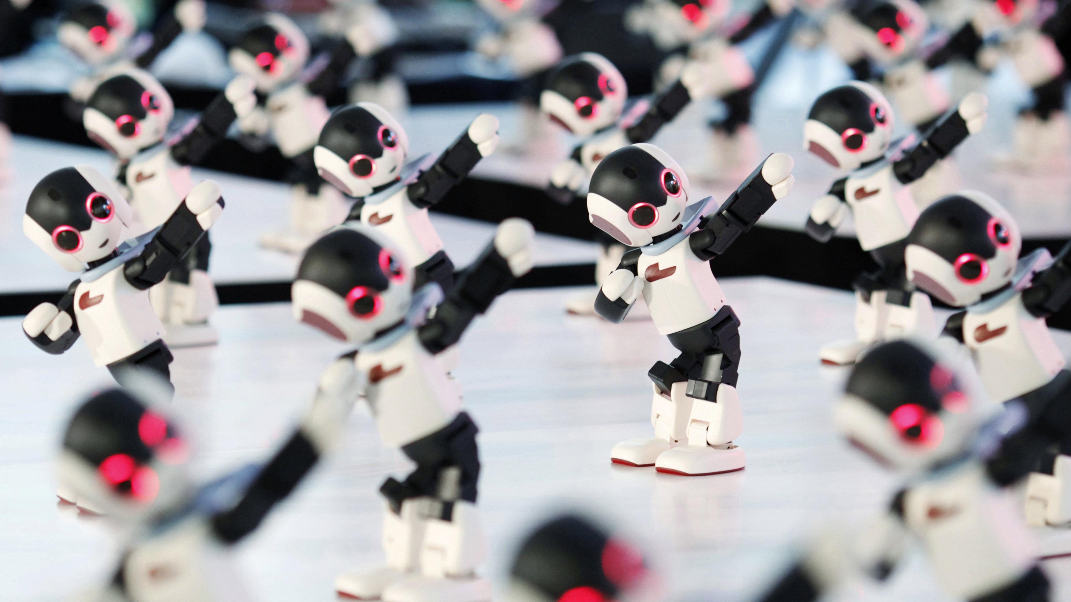 group of dancing robots