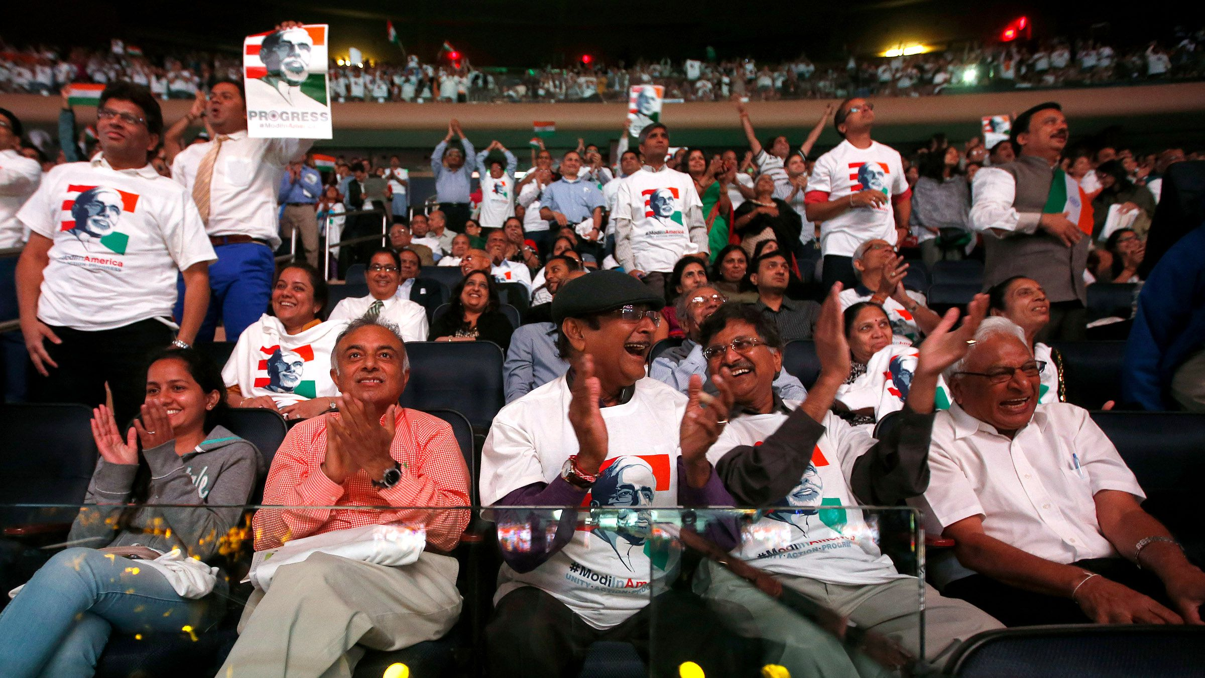 Supporters cheer as India's Prime Minister Narendra Modi gives a speech during a reception by the Indian community in honor of his visit to the United States at Madison Square Garden, Sunday, Sept. 28, 2014, in New York.