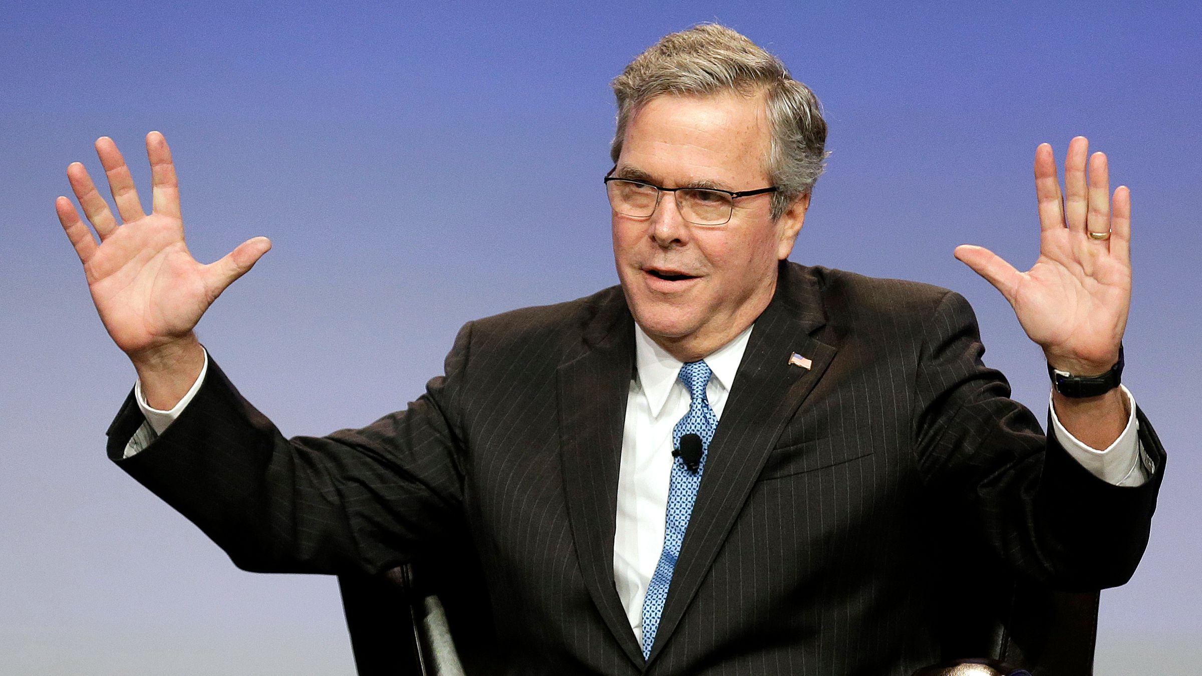 Former Florida Gov. Jeb Bush speaks at the National Automobile Dealers Association convention in San Francisco, Friday, Jan. 23, 2015