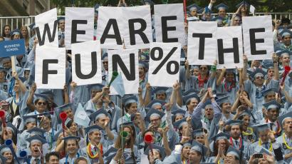 Columbia University business school graduates gather for commencement.