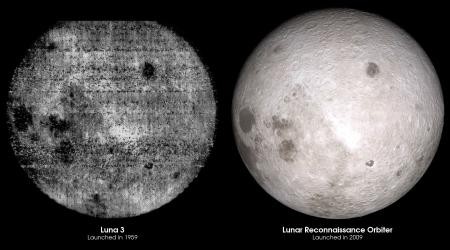 Comparison of moon far side photos from 1959 and today.