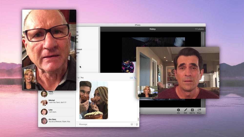"MODERN FAMILY - ""Connection Lost"" - Claire's computer becomes the hub of all the family's activities when she gets stuck at the airport and is desperate to reach Haley after a big fight. After FaceTiming with Phil and the rest of the family to help track her down, Claire quickly turns to online snooping which inevitably becomes disturbing real quick and everyone gets sucked into the online drama, on ""Modern Family,"" WEDNESDAY, FEBRUARY 25 (9:00-9:31 p.m., ET), on the ABC Television Network. (ABC) JULIE BOWEN, ED O'NEILL, ADAM DEVINE, SARAH HYLAND, TY BURRELL"