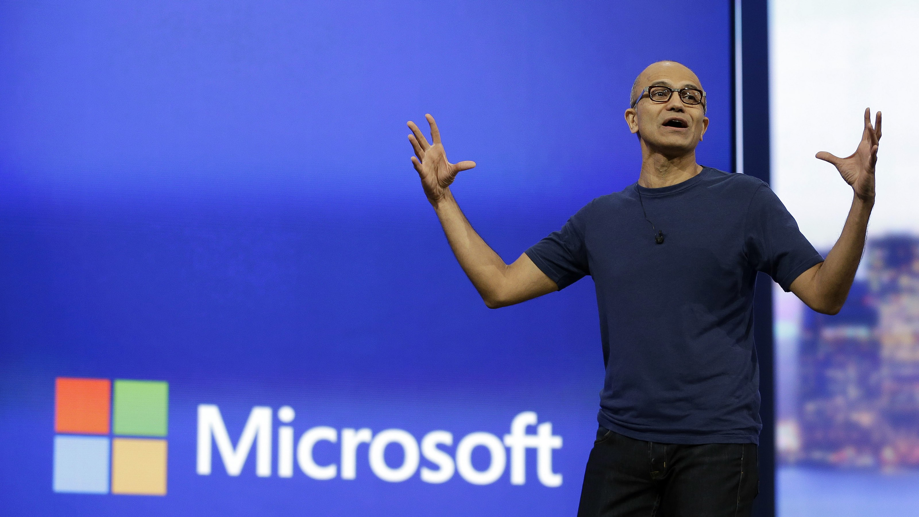 In this April 2, 2014 file photo, Microsoft CEO Satya Nadella gestures during the keynote address of the Build Conference in San Francisco. Microsoft plans to offer a glimpse of its vision for Windows on Tuesday, Sept. 30, 2014, as Nadella seeks to redefine the company and recover from missteps with its flagship operating system. (AP Photo/Eric Risberg, File)