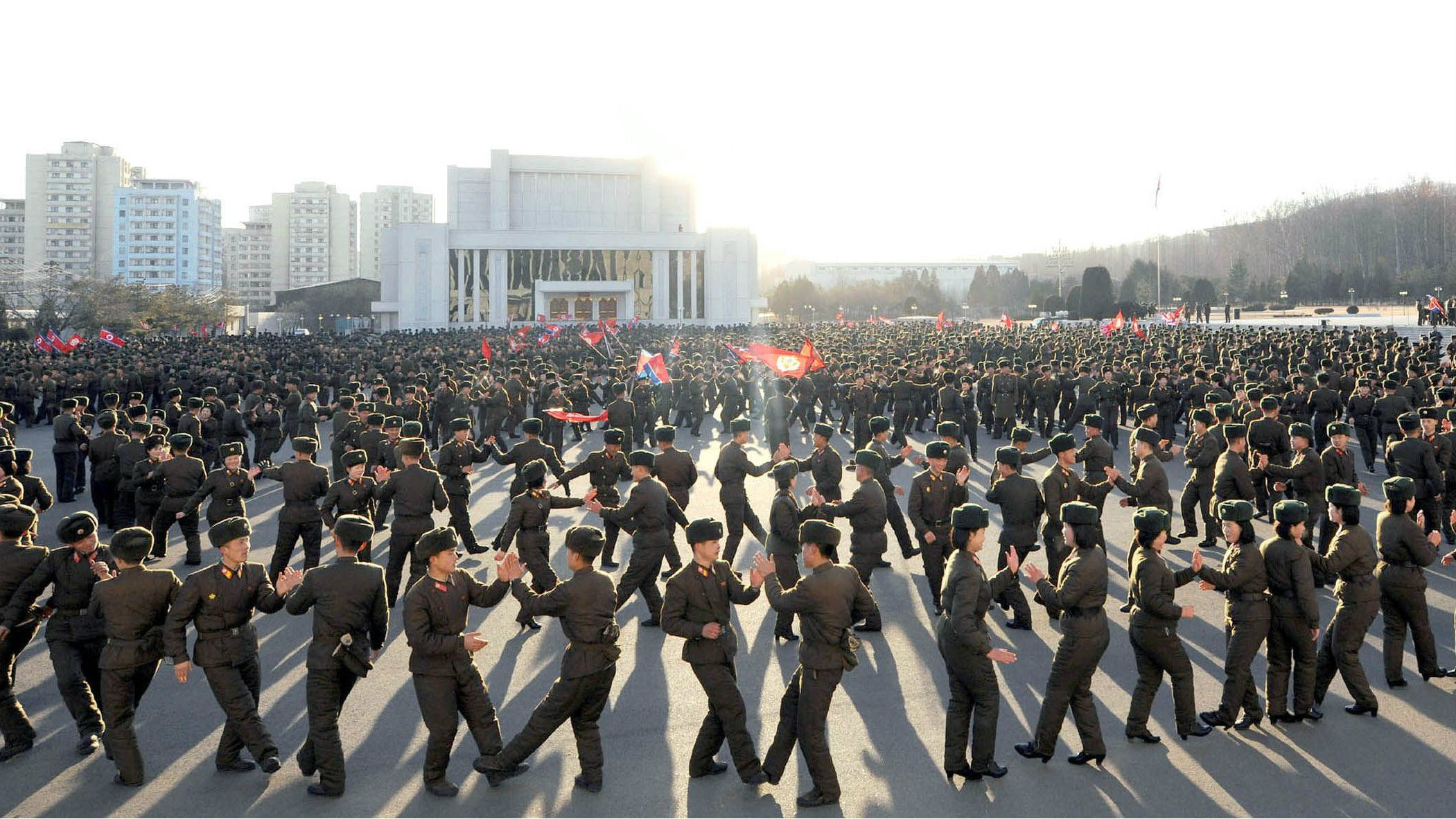 Members of North Korea's Ministry of the People's Armed Forces (MPAF) dance during a celebration of the anniversary of the February 8 founding of the regular revolutionary armed forces of Korea, at an undisclosed location in this undated photo released by North Korea's Korean Central News Agency (KCNA) in Pyongyang on February 8, 2015. REUTERS/KCNA